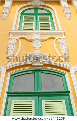 Classic Stucco facade windows. - stock photo