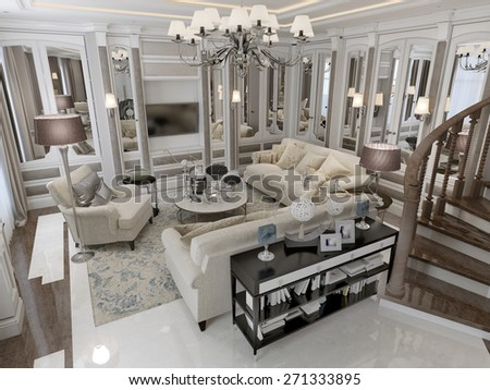 Classic style living room. 3D render - stock photo
