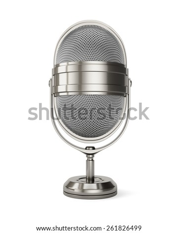 Classic style microphone isolated on white. 3d render - stock photo