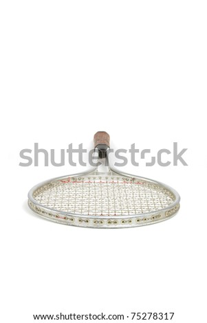 Classic Style Tennis Racket Isolated on a White Background - stock photo