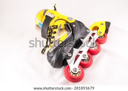 Classic Style Vintage Consumed Old Roller Skate - stock photo