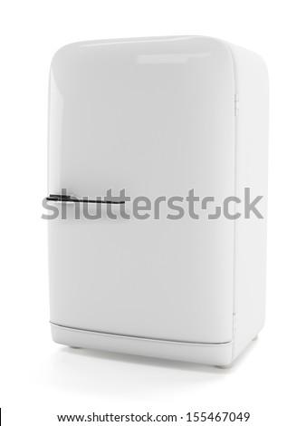Classic stylish fridge. White old style refrigerator isolated on white - stock photo