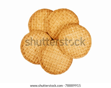 Classic tea biscuits isolated on white - stock photo
