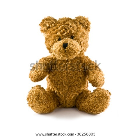 classic teddy bear isolated on white - stock photo