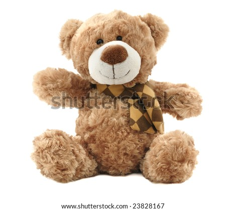 Classic teddy-bear isolated on white background - stock photo