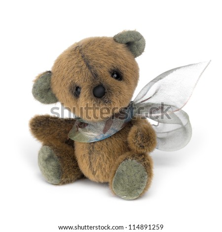 Classic teddy bear on white background - stock photo