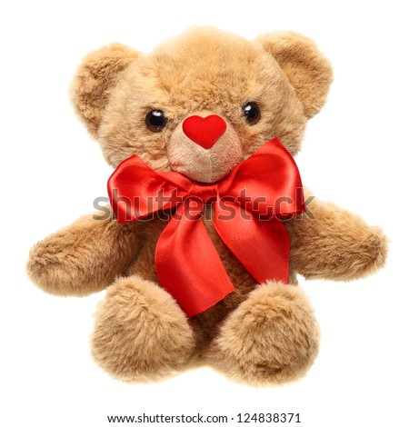 Classic teddy bear with red bow and nose heart shape isolated on white background - stock photo