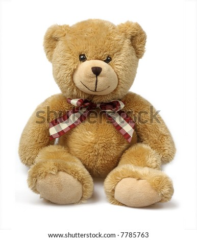 Classic teddybear isolated on white background - stock photo