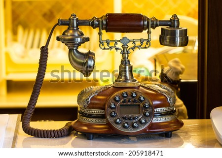 Classic telephone in luxury hotel Thailand