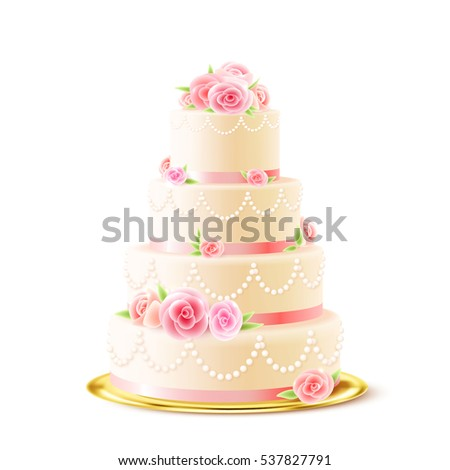 Classic 3 tiered delicious wedding cake with white icing decorated with cream roses realistic image  illustration