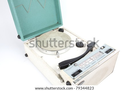 Classic turntable, A green vintage turntable player bag. - stock photo