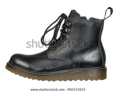 classic unisex black lace-up fashionable combat boots - stock photo