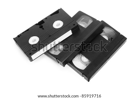 classic vhs tape isolated on a white background - stock photo