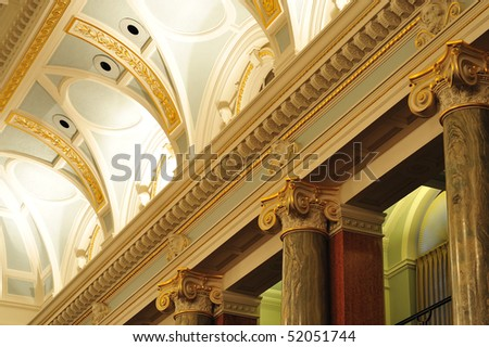 Classic victorian ceiling of the chamber in the historic parliament building (built in 1893) at victoria downtown, british columbia, canada - stock photo