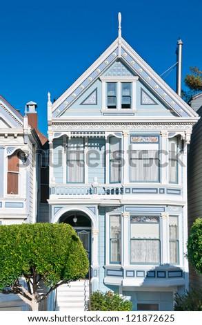 Classic victorian house in San Francisco, California, USA - stock photo