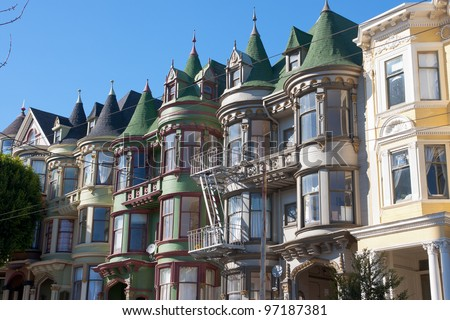 Classic victorian houses in San Francisco - stock photo