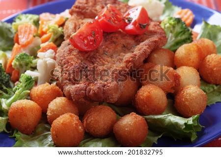 Classic vienna steak, viener schnitzel, breaded beef or veal cutlet - stock photo