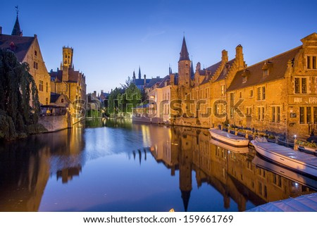 Classic view of Bruges. Belgium. Medieval fairytale city. Summer urban landscape.