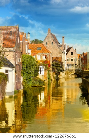 Classic view of channels of Bruges. Belgium. Medieval fairytale city - stock photo