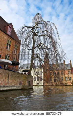 Classic view of channels of Bruges. Belgium. Medieval fairytale city. Summer urban landscape. Tree branches hanging down into the water channel. - stock photo
