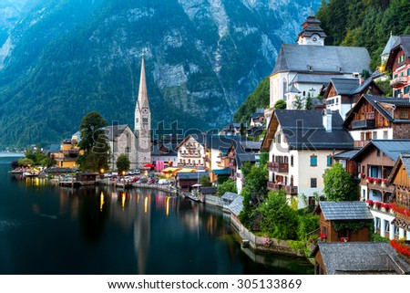 Classic view of Hallstatt village in Alps at dusk, Austria - stock photo