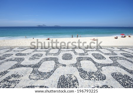 Classic view of Ipanema Beach Rio de Janeiro boardwalk with calm sea view