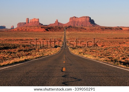 Classic view of Monument Valley, Arizona - stock photo
