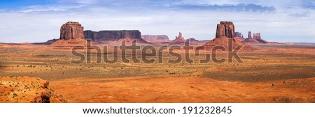 Classic view of Monument Valley from Artist Point. Monument Valley Navajo Tribal Park, Utah and Arizona, USA - stock photo