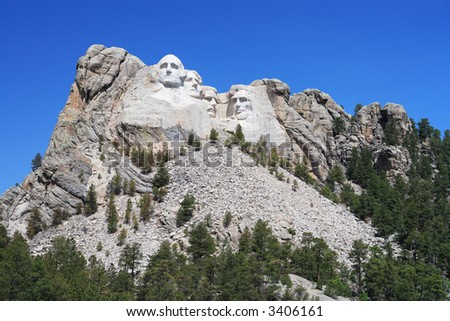 Classic view of Mount Rushmore showing the scale of this impressive monument. - stock photo