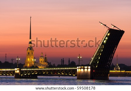 Classic view of Saint-Petersburg,Russia in the white night - stock photo