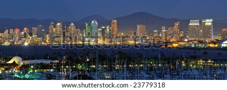 Classic view of San Diego skyline at night - stock photo