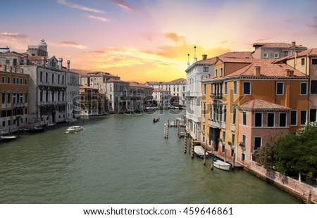 Classic view of Venice at sunset