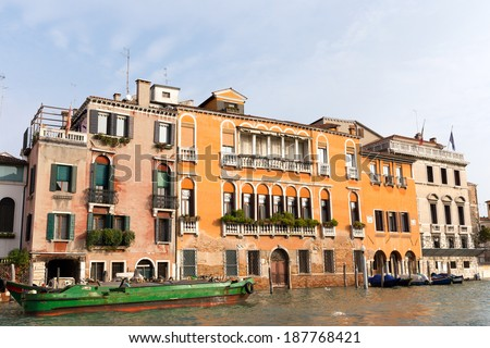 Classic view of Venice with canal and old buildings. Venice. Italy - stock photo
