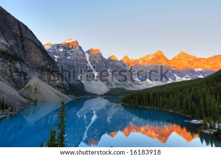 Classic view of world famous Lake Moraine, Canada - stock photo