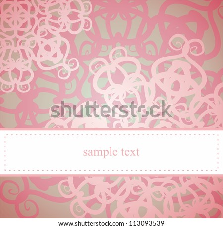 Classic vintage elegant card or invitation for party, birthday, baby shower or wedding with pink floral abstract ornament and white space to put your own text message. - stock photo