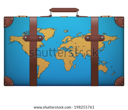 Classic vintage luggage suitcase with map for travel. Isolated on white background. Bitmap copy. - stock photo