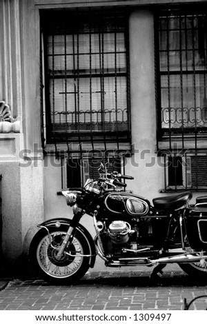 classic vintage motorcycle from the 1960s  in New York city