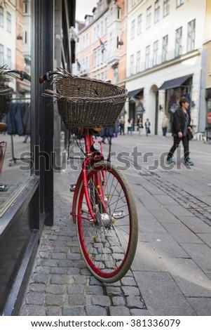 Classic vintage retro city bicycle in Copenhagen, Denmark - stock photo
