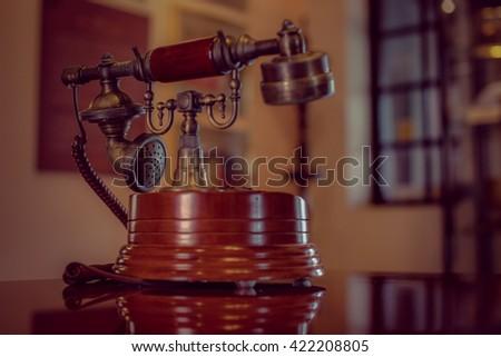 Classic vintage telephone - stock photo