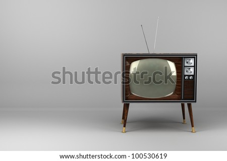 Classic vintage TV with wood veneer design in studio - stock photo