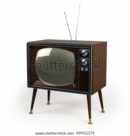 Classic vintage TV with wood veneer design over white background - stock photo