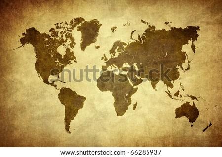 classic vintage world map - stock photo
