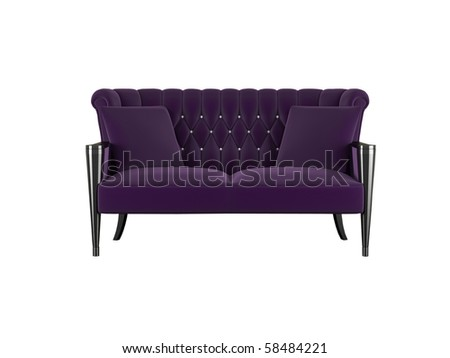 Classic violet sofa isolated on white, 3d render/illustration