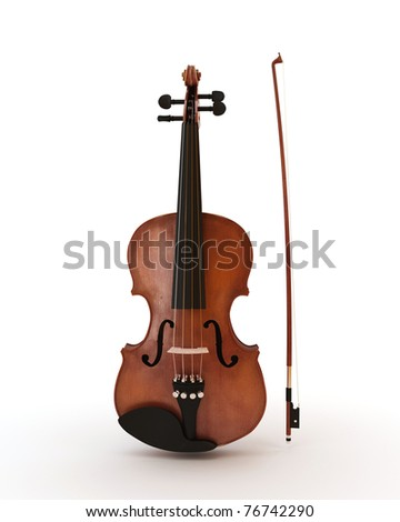 Classic violin isolated on white - stock photo