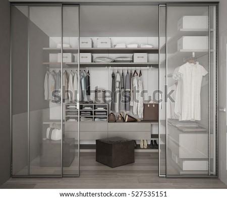 Classic Walk Closet Glass Sliding Doors Stock Illustration 527535151