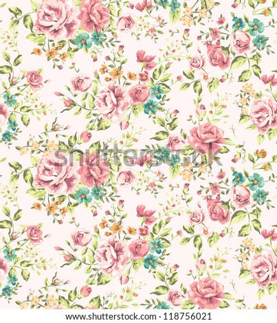 classic wallpaper seamless vintage flower pattern vector background - stock photo