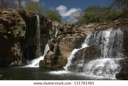 Classic waterfall  west of Diriamba, Nicaragua at the La Maquina Ecotourism Center on the Diriamba - La Boquitas highway - stock photo