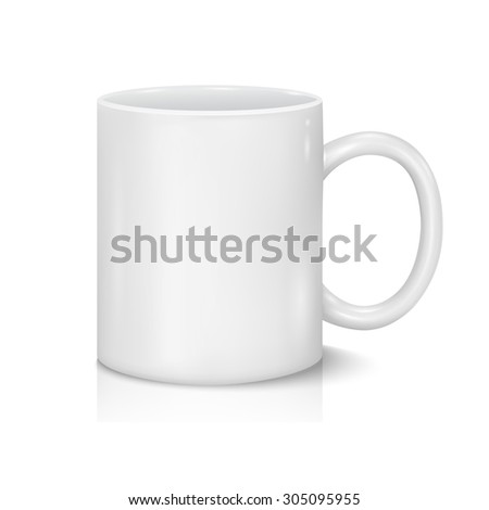 Classic White Cup for Business Branding and Corporate Identity. Isolated on White. - stock photo