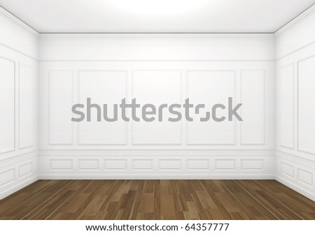 classic white empty room with wood floor, frontal view with big copy space - stock photo