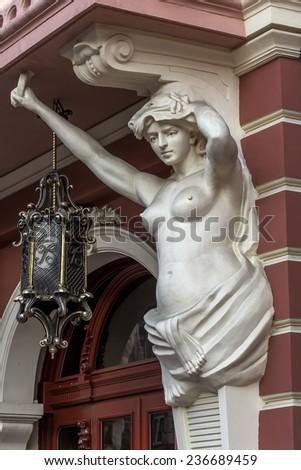 Classic white female statue of the goddess in Odessa, Ukraine - stock photo